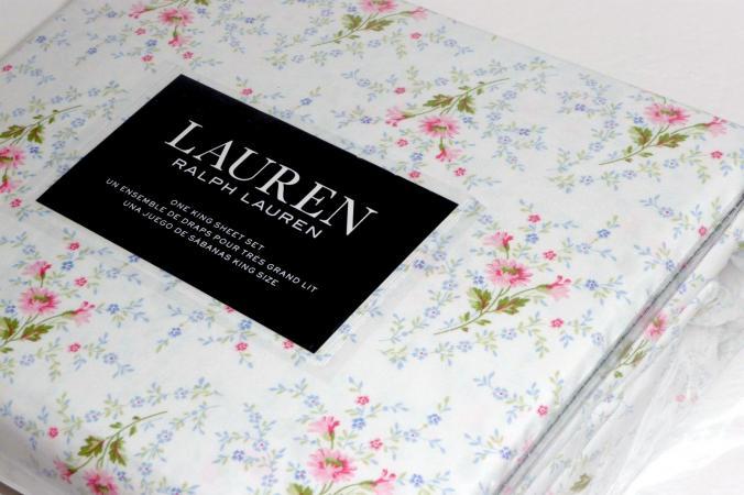 RALPH LAUREN Summer Pink Floral X DEEP KING 4 Pc Sheet Set In 100%