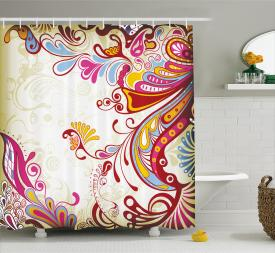 Paisley Floral Print Extra Long Shower Curtain