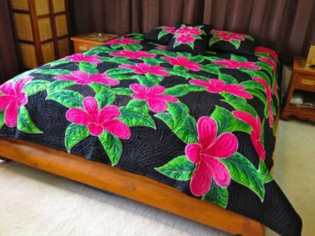 Plumeria Flower Hawaiian Style Quilt