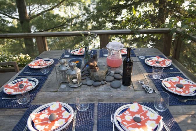 Blue placemats on outdoor dining table