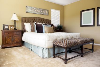 Bedroom suite with bed skirt