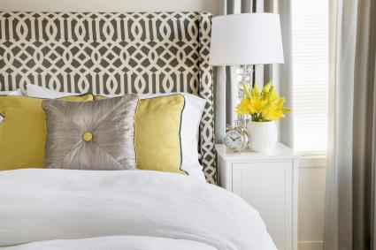 Contemporary bed with decorative pillows