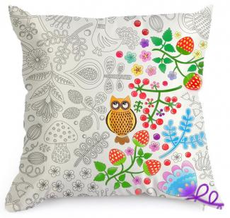 DIY Forest Decorative Coloring Pillowcase Pattern