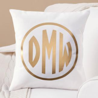 Gold Personalized Monogram Pillow