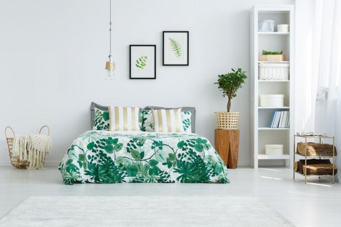 Green flora bedding decor