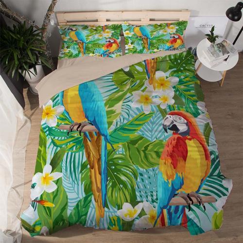 Tropical Parrot Print Bedspread
