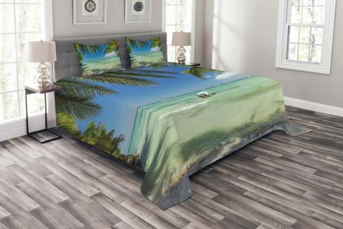 Tropical Island Beach Scene Print Bedspread