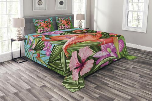 Colorful Flamingo and Hibiscus Garden Bedspread