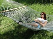 Woman Resting on Double Cotton Rope Hammock