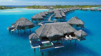 Overwater bungalows at the Four Seasons Resort in Bora Bora