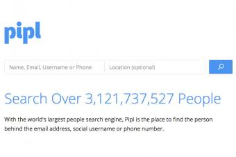 Screenshot of pipl website