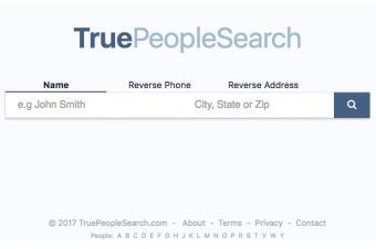 Screenshot of TruePeopleSearch website