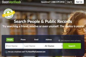 Screenshot of BeenVerified website