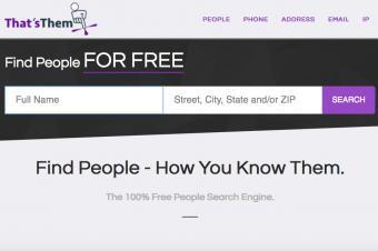 Screenshot of That'sThem website