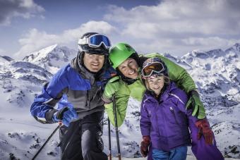 family on ski slope