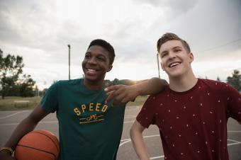 best friends on basketball court