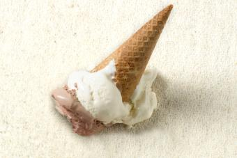 Fake ice cream spill on carpet