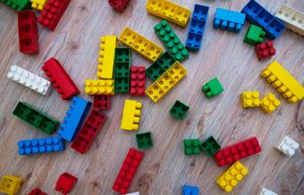 colored game cubes scattered
