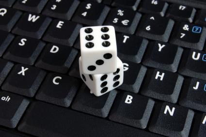 Dice on keyboard