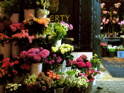 Image of florist's display of flowers available for delivery
