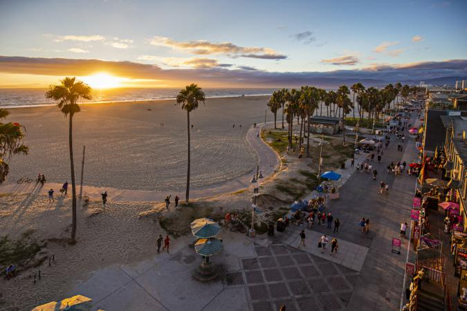 Venice beach during sunset