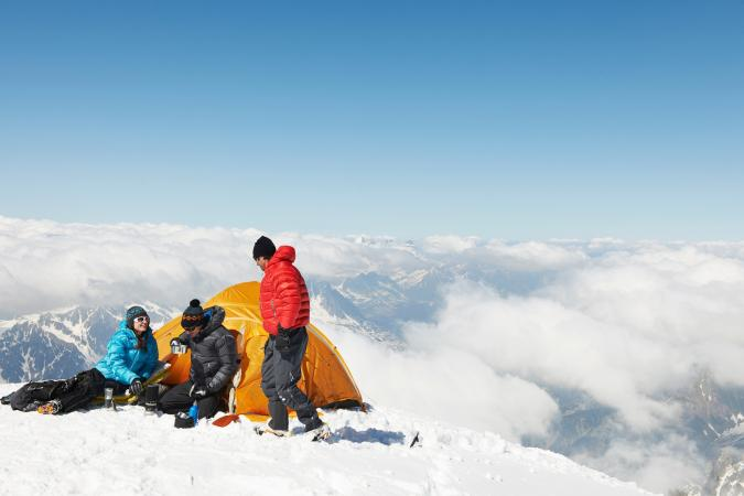 camping in mountain snow