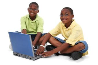 Two boys playing the game online