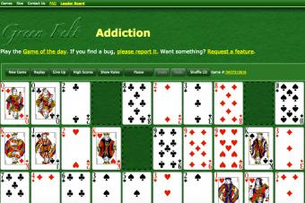 Screenshot of Green Felt Addiction web page