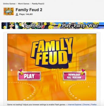 Screenshot of gamefools.com Family Feud 2 game