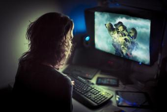 Gamer playing late at night
