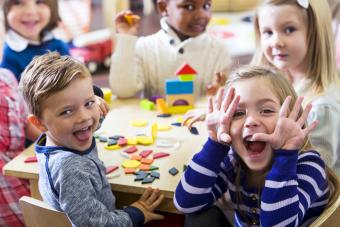 Playful preschoolers having fun