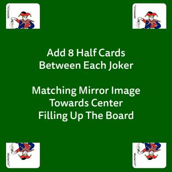 Cards set up with Sequence Board Game Instruction