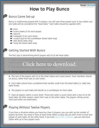 Bunco Game Rules Printable