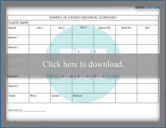 Bunco Scoresheet Printable