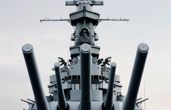 Battleship U.S.S. Alabama with retro tint