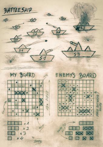 Hand sketch sepia battleship game on sea