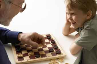 Playing checkers with grandfather