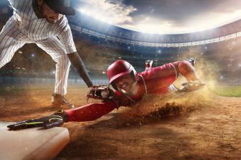 Baseball player sliding during a baseball game