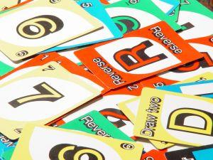 A combination of Uno cards.