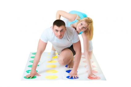 Couple playing Twister