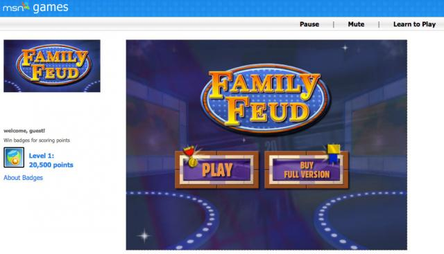 Screenshot of MSN Games Family Feud