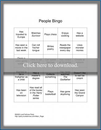 People Bingo Card