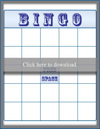 Blank Blue Bingo Card
