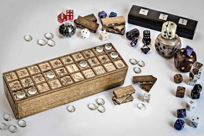 Senet and dices board games