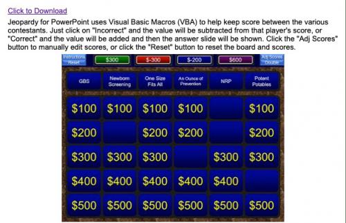 Screenshot of Jeopardy for Powerpoint