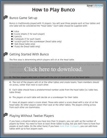 Bunco Game Rules Printable