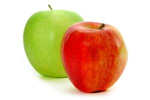 a red and green apple