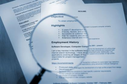 Resume image with employment history magnified