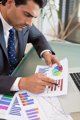 Businessman with sales reports
