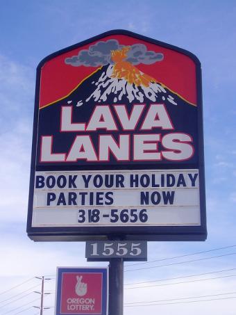 Lava Lanes sign